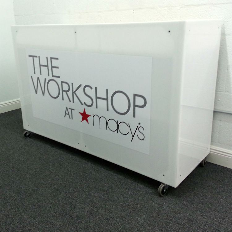 Smoke Machine Rental >> White Acrylic DJ Booth Rental With Logo Branding - DJ Peoples