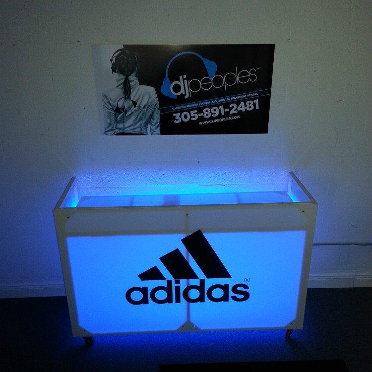 White Dj Booth Rental With Led Lighting And Logo Branding Dj Peoples