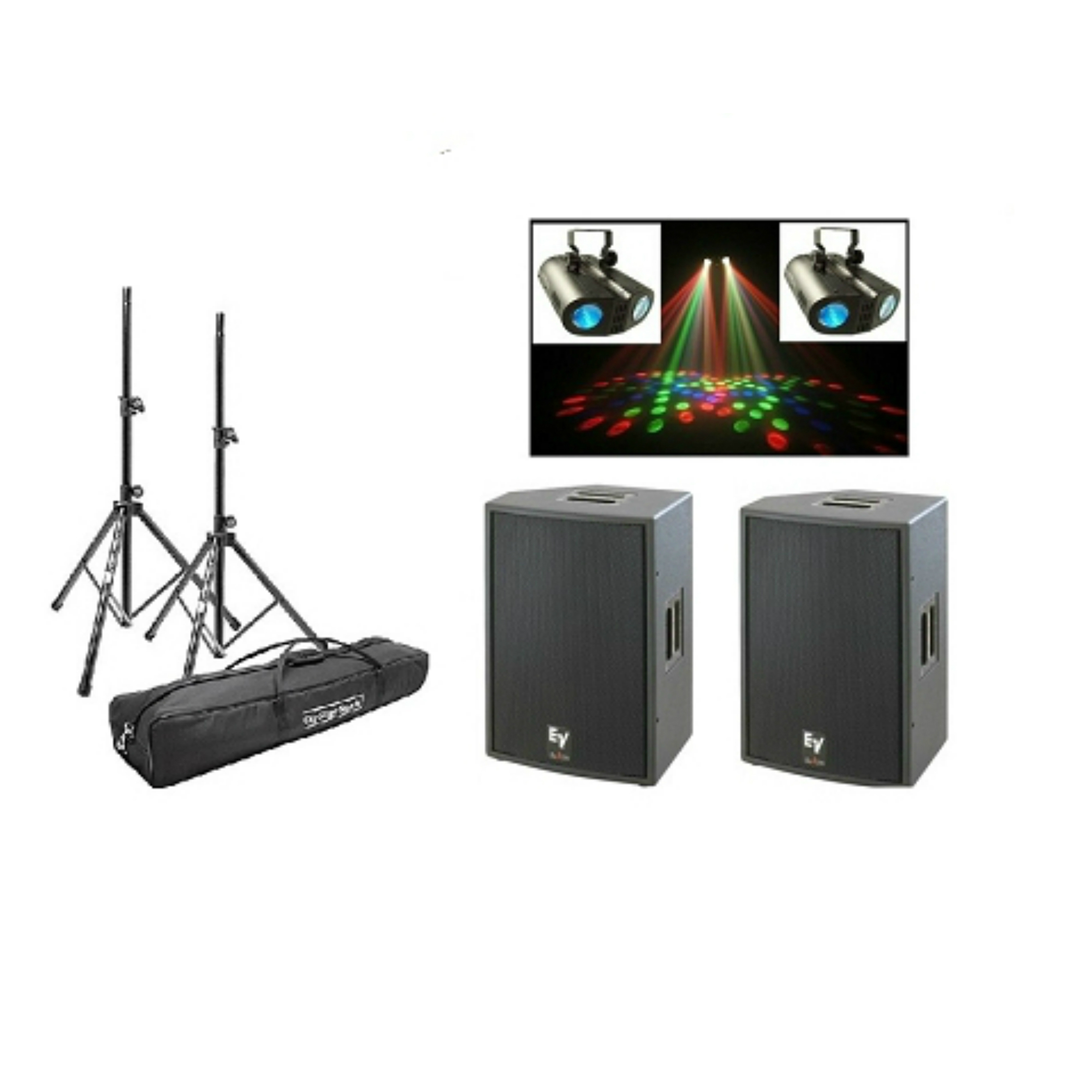 Two Powered Speakers With IPod Connection And Party Lights Rental Package D