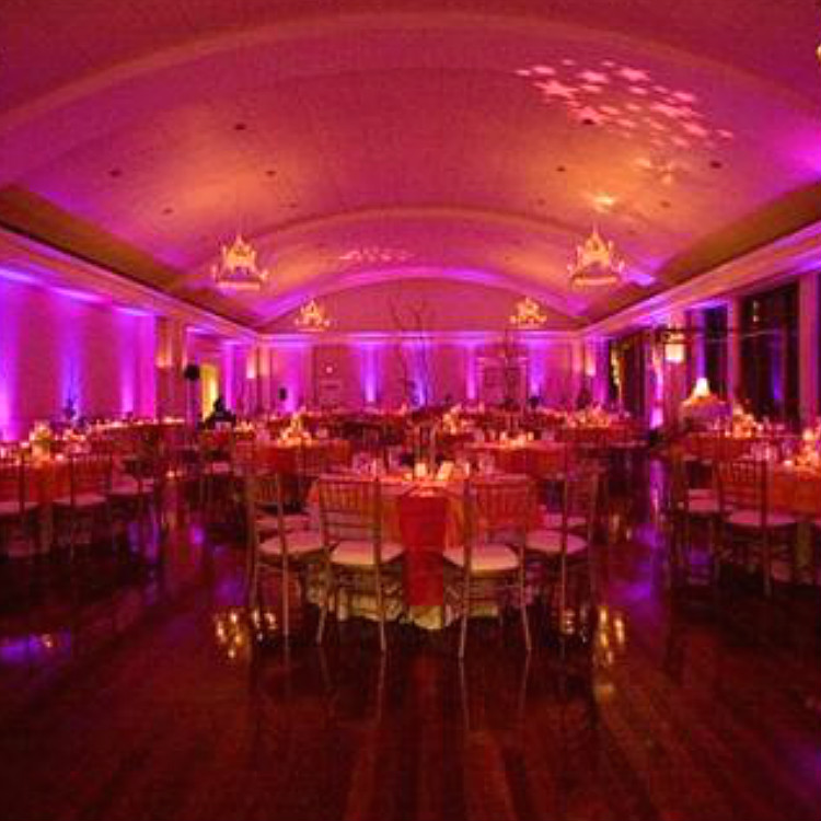 12 piece par can uplighting rental package with color gel sheet